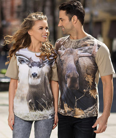 Man wearing shirt with Moose on it