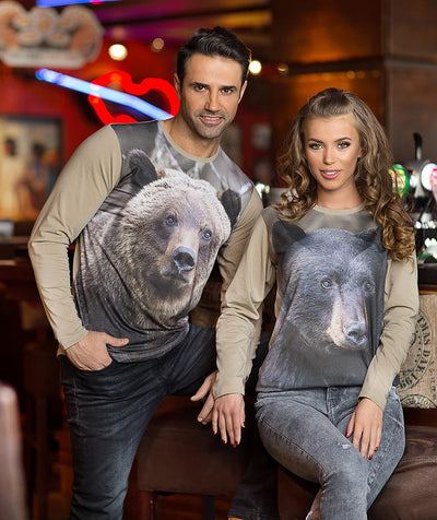 Man wearing t-shirt with Grizzly on it