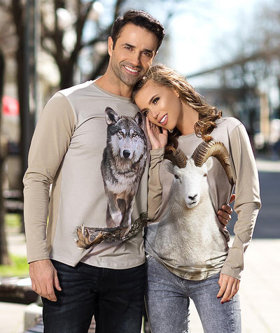 Man wearing t-shirt with dall sheep on it