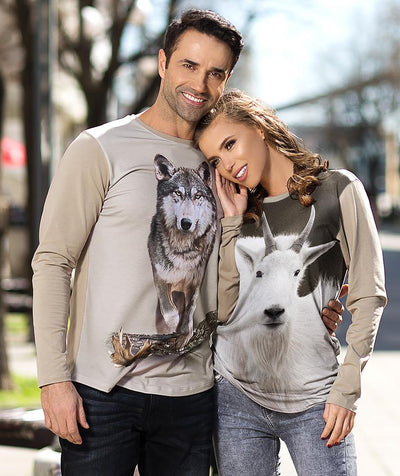 Woman wearing t-shirt with Mountain Goat on it