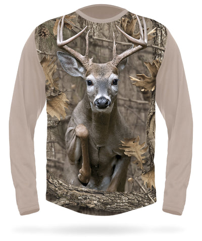 Whitetail Deer T-shirt Jumping Long Sleeve Camo - HILLMAN® hunting gear