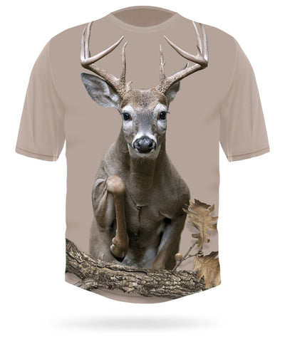 Whitetail Deer T-shirt Jumping Short Sleeve by HILLMAN®