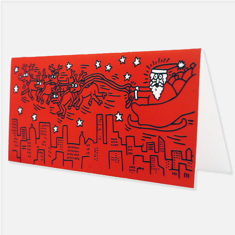 Red Santa Notecards (Set of 12) - Keith Haring Pop Shop
