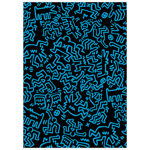Keith Haring Black with Blue Line Figures Journal