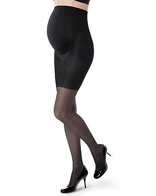 Assets by Sara Blakely 836M Maternity Black Marvelous Mama Patterned Fishnet Pantyhose