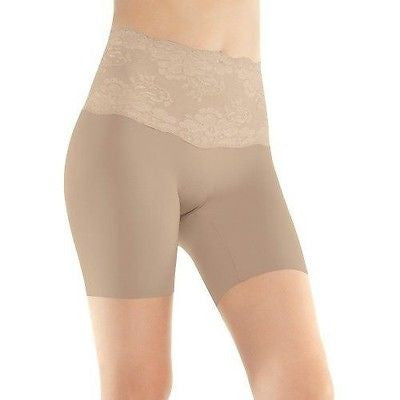 Assets by Sara Blakely, Woman's Chic Peek Mid-Thigh Shaper Style 1155 In Nude & Black