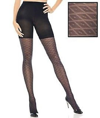 Assets by Sara Blakely Textured Shaping Preppy Diamond Tights 1658 Black
