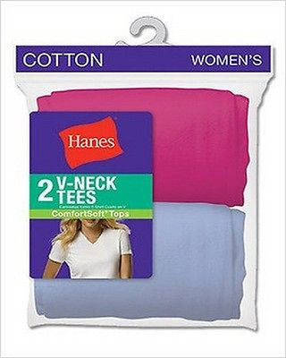 Hanes Women's Assorted Jersey V-Neck T-Shirts 2-Pack Style 51W2AS