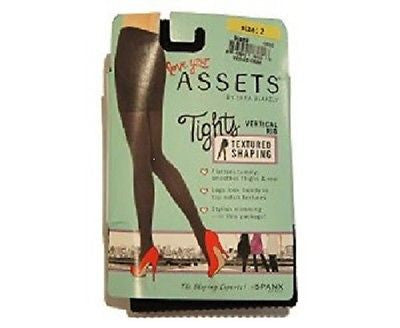 Assets By Sara Blakely Black Ribbed Tights Style #1660