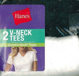 New Hanes Women's Assorted Jersey V-Neck T-Shirts 51W2BK Black Grey White Aqua