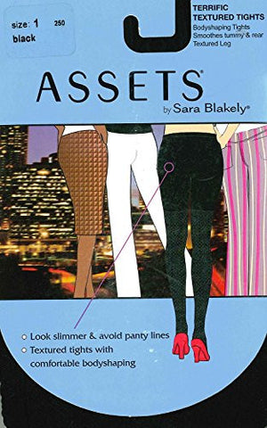 Assets by Sara Blakely Terrific Textured Tights, Black, Size 4, Style #250