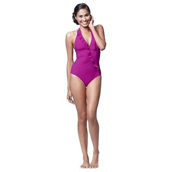 ASSETS by Spanx Halter Glamour Ruffle One Piece Swim Suit Style 1712