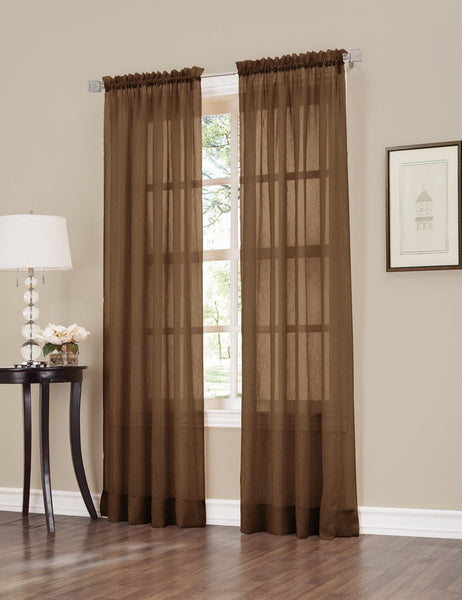 No. 918 Erica Crinkled Sheer Voile Single Curtain Panel, 51 x 84 Inch, Chocolate