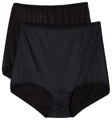 Bali Women's Smooth Tailored Light Control Brief 2 Pk, Black, Size 3X - X50j
