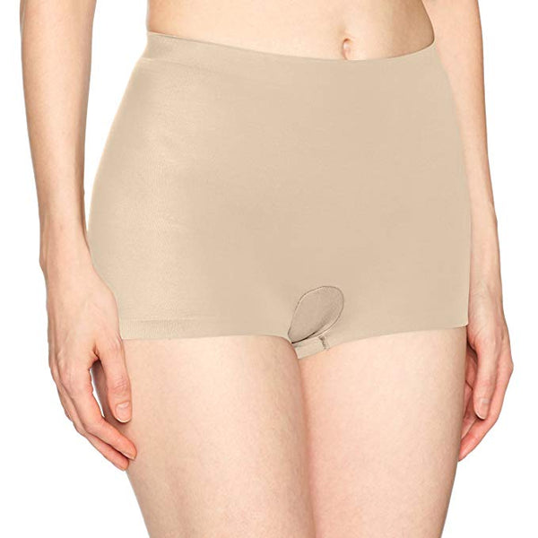 Flexees Women's Cover Your Bases Smoothing Boyshort, Transparent, Small