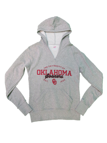 Soffe Athletic Wear Women Tops, Fleece Deep V Neck Pull Over Hoodie/Oklahoma