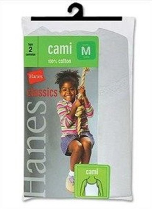 Hanes Girls 2 Pack Camis in White, Style Number 15763 (White, X-Small)