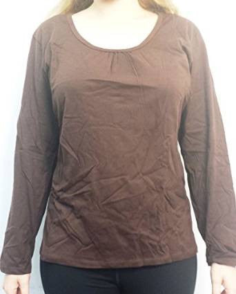 Just My Size Shirred Deep U Neck Long Sleeved Top, Style J188