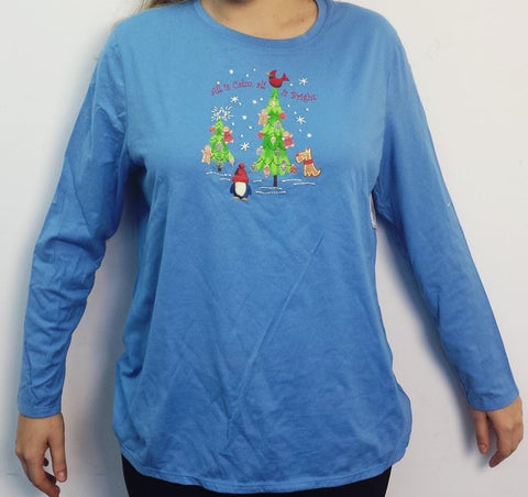 Just My Size Christmas Holiday Long Sleeved T-Shirt