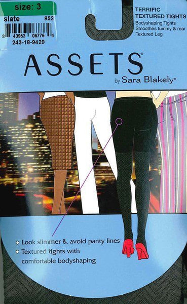 Assets by Sara Blakely Terrific Textured Tights, Gray, Size 4