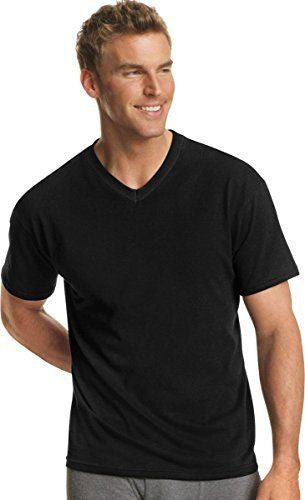 Men's Hanes Dyed ComfortSoft TAGLESS V-Neck Undershirt 4-Pack