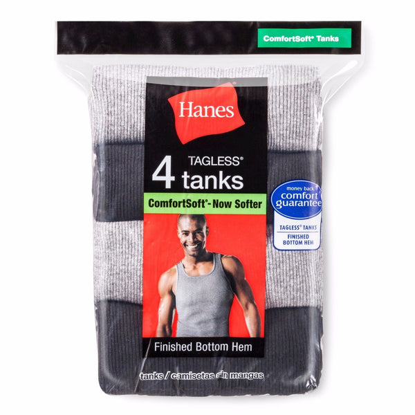 Men's Hanes TAGLESS Ribbed A-Shirt 4-Pack