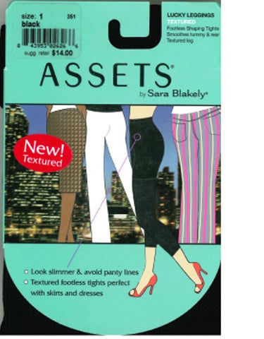 Assets By Sara Blakely Lucky Leggings, Textured in Black, Style #209