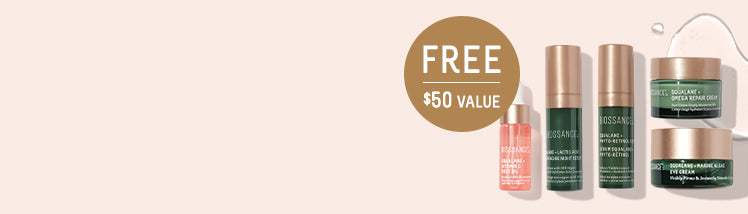 FREE BEST OF BIOSSANCE 5-PIECE SET ON ORDERS $50+. <br>CODE: BESTOF<br>