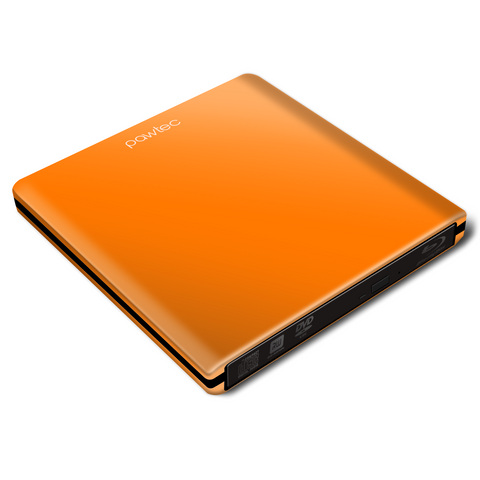 Pawtec Signature External USB 3.0 Aluminum 6X BDXL 3D Blu-Ray Writer / Burner - ORANGE