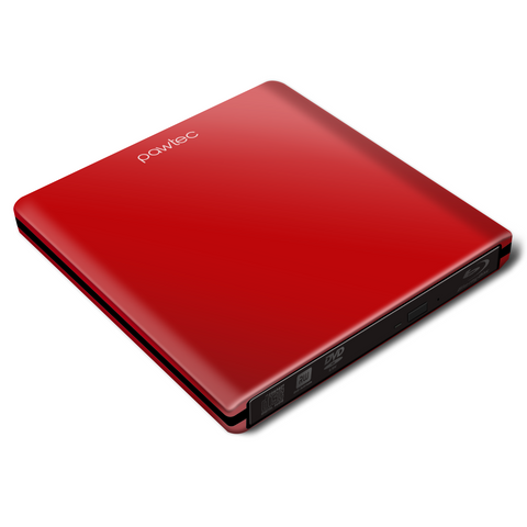 Pawtec External USB 3.0 Aluminum 6X BDXL 3D Blu-Ray Writer / Burner (Red)