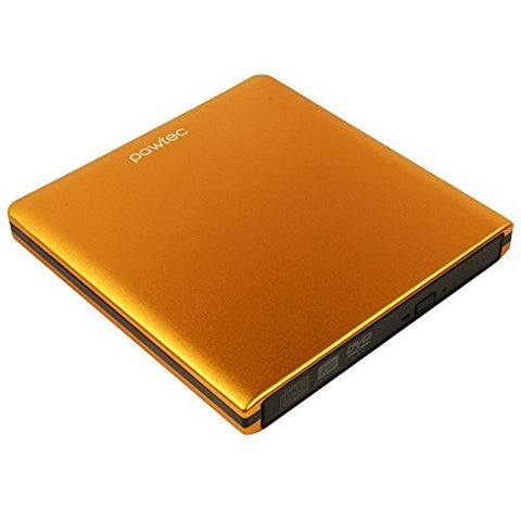 Pawtec Signature External USB DVD-RW Writer Optical Drive with Lightscribe - ORANGE
