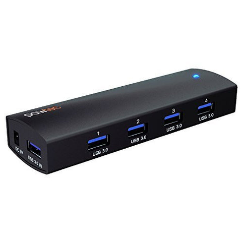 Pawtec 4-Port Aluminum USB 3.0 SuperSpeed Powered Hub w/ AC Adapter for Windows, Mac, and Linux