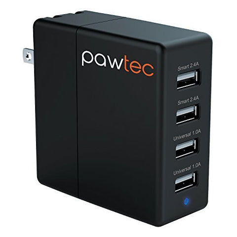 Pawtec 4-Port USB Wall Charger Smart Circuit Optimized For Smartphones & Tablets