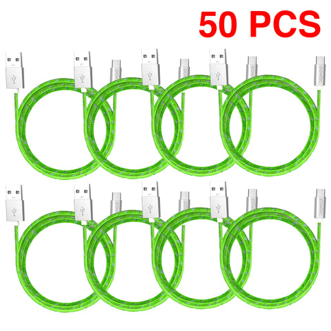Lot of 50 - Pawtec Nylon Braided Micro USB Cable for Android Cell Phones and Tablets - 3.3 Feet/1 Meter (Lime Green)