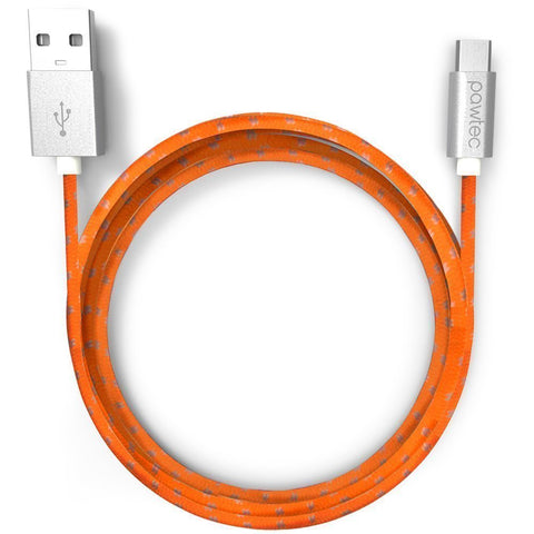 Lot of 50 - Pawtec Nylon Braided Micro USB Cable for Android Cell Phones and Tablets - 3.3 Feet/1 Meter (Tangerine Orange)