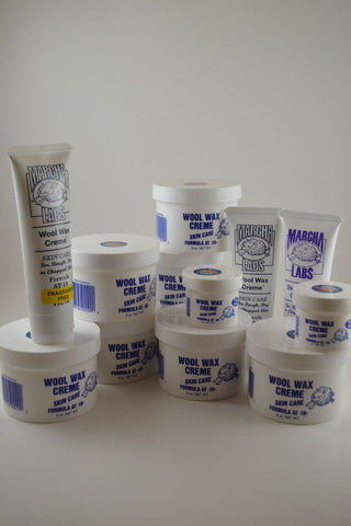 7 Nine Ounce Jars, 2 Two Ounce Jars and 3 Squeeze Tubes Wool Wax Creme