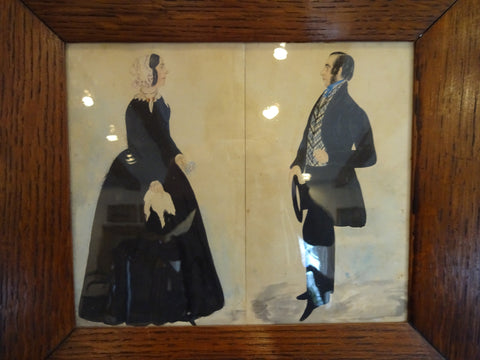 19th Century Watercolor of Husband and Wife
