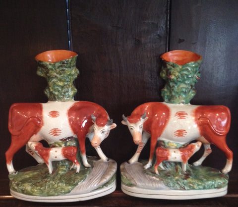 Staffordshire Cow Spill Vases