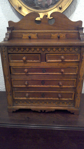 Miniature Folky Walnut Chest