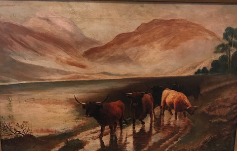 19th Century Longhorn Cattle Painting