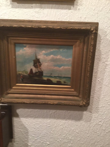 Oil on board of sailing ship