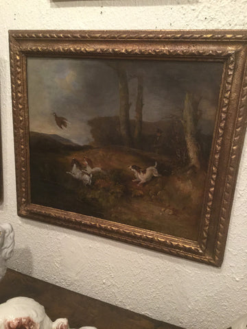 Large oil on canvas of hunting dogs