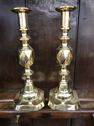 "Pair of ""King of Diamonds"" English Brass Candlesticks"