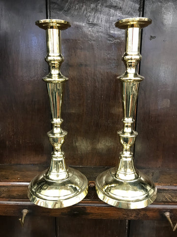 Pair of 19th Century English brass candlesticks