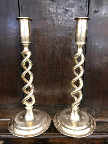 "Pair of English brass ""Open twist"" candlesticks"