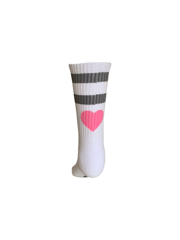 Classic Rib Tube Socks HEART White/Gray Stripes