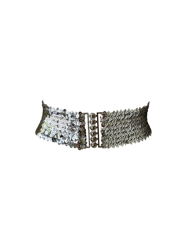 LIMITED LILI Sequin Stretch Silver Belt