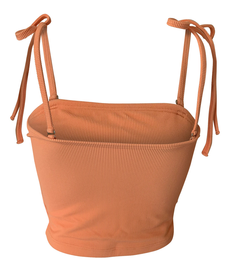 Yuliana Tie Tube Top Ribbed in Cantaloupe