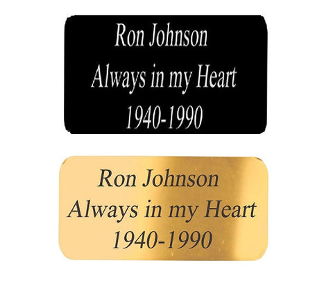 Customized Engraved Brass Name Plate - 2 Styles Gold or Black - Solid Brass 2 x 4 or 1 x 3  Plaque Size
