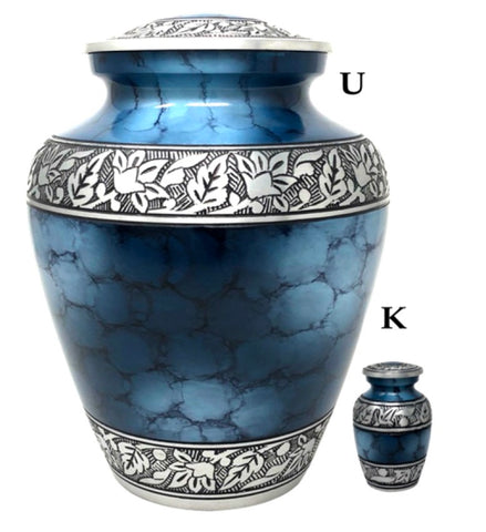 Large Elite Cloud Blue and Silver Cremation Urn- IUAL176